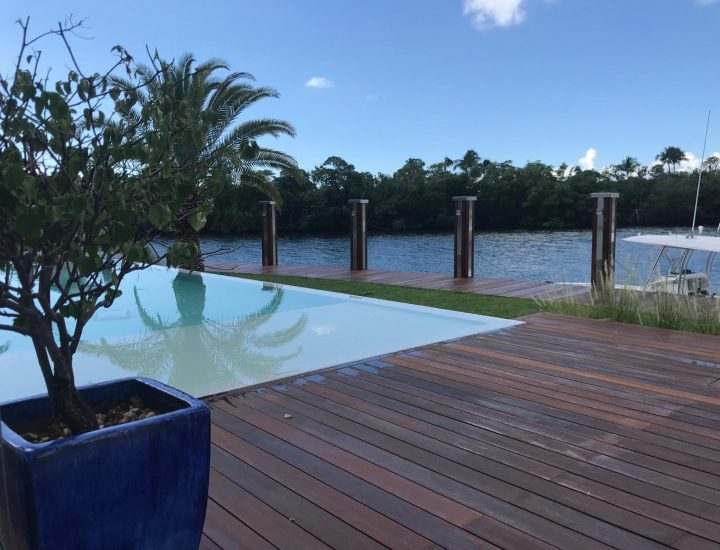 Ipe hardwood pook deck with matching ipe dock overlooking the intercostal