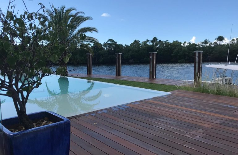 Ipe Wood Decking around pool by South Florida marina
