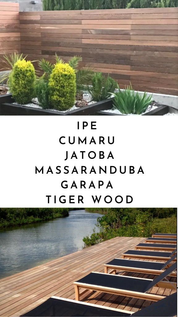 picture with a horizontal ipe wood fence on top and an ipe wood deck overlooking a river on bottom with text in between saying ipe cumaru jatoba massaranduba garapa tiger wood