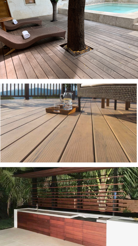 A picture of an ipe deck at an Austin spa, a composite deck overlooking lake Travis, and outdoor kitchen made with ipe siding.
