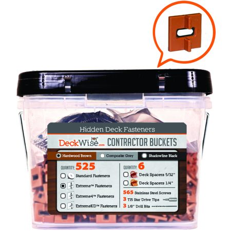 DeckWise® Ipe Clip Extreme Short  Hidden Deck Fasteners Contractor Buckets 525 Count