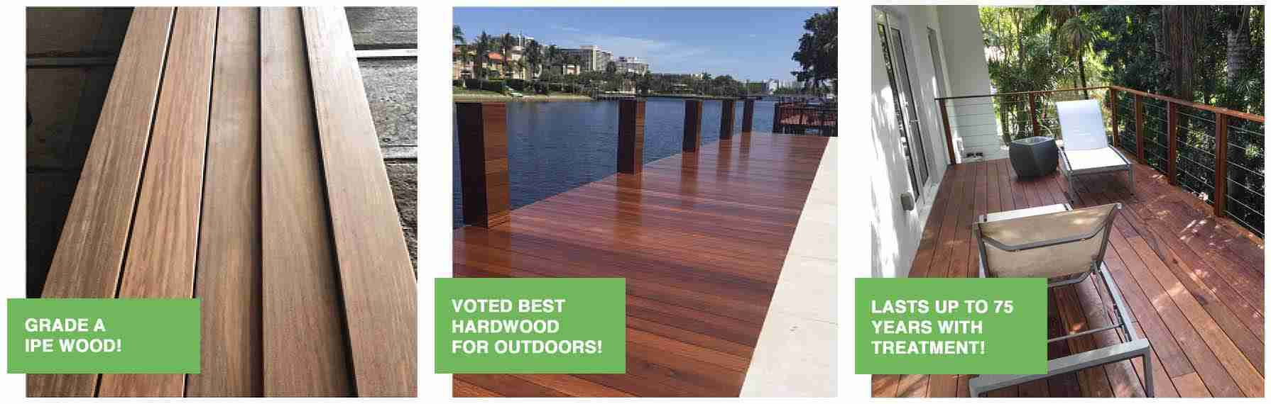 grade A ipe boards displayed together and freshly oiled ipe wood dock overlooking the intracoastal waterway