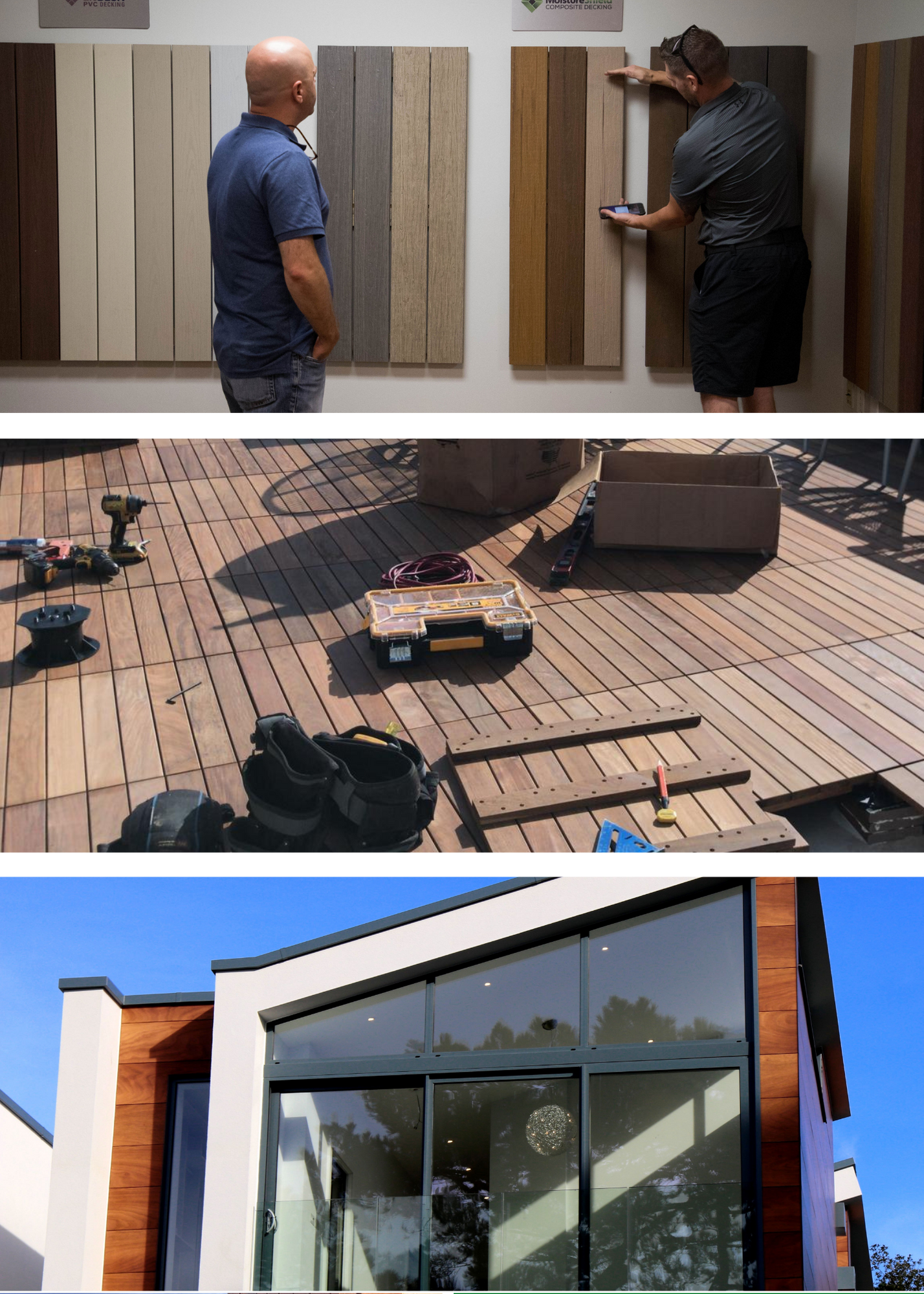 A picture of a Brazilian Lumber salesperson helping pick the right product, deck tiles being installed, and ipe siding on the side of a New York apartment.